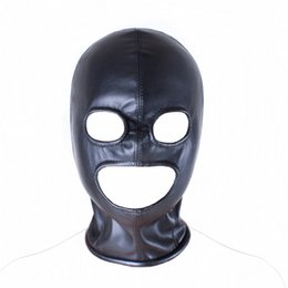 Wholesale Masks Adults - Soft Leather Fetish Mask Hood Sexy Toys Fetish Open Mouth Eye Hood Mask Head Bondage Adult Games Sex Toys For Couple Sex Product
