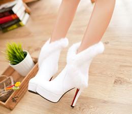 Wholesale Women Boots Rabbit Fur - Boots PU New arrival women's shoes winter rabbit fur medium-leg white high heel 12CM Platform 4CM EUR Size 34-39