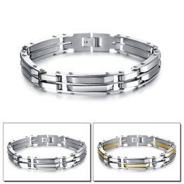 Chaînes plaquées or en Ligne-Bracelet jonc en acier inoxydable pour hommes avec fermoir à fermoir plaqué or 9.64inch Bracelet de finition pour hommes