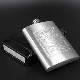 Wholesale Stainless Steel Hip Flask Engraved - Engraved Hip Flask 8 OZ Stainless Steel Flagon Camping Jack danices Patch Stainless Steel 8oz Hip Flask Flagon Whiskey Wine Pot
