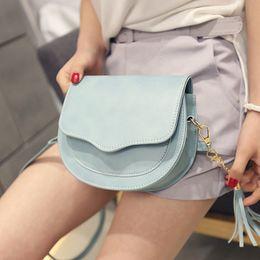 Wholesale Cheap Cute Cross Body Bags - New Korean Tassel Handbag Women's Single Shoulder Bag Candy Color High Quality Cheap Girl's Cute Bag