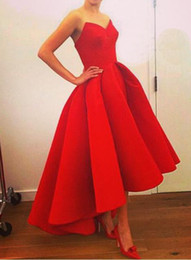 Wholesale Dipped Dresses - Fashion Red Dip Hem Trailing Evening Dress Sleevesless High Waist Evening Ball Gowns Elegant Cocktail Dresses