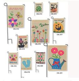 "Wholesale Burlap Art - DHL Fedex2016 Burlap Garden Flags 12""Wx18""H DIY Jute Liene Yard House Decorative Hanging Flag Courtyard Printed Ads Flags"