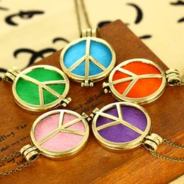 """Wholesale Wholesale Logo Lockets - Aromatherapy Essential Oil Diffuser Necklace Peace Logo DIY Pendant Locket Jewelry 23.62"""" Chain Women Gift FBA Drop Shipping B431Q"""