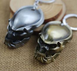 Wholesale alien vs predator mask - Retail Pack Metal Alien vs Predator mask keychain zinc alloy bronze alien pendant key chain key rings bag hangs men Christmas gift 170455