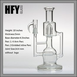 Wholesale Mountain Glasses - Sovereignty Mini Hornet Recycler Blasted double recycler oil rigs Glass Bongs Water Pipes double Pipe 14.4mm Smoking dab rig bear mountain