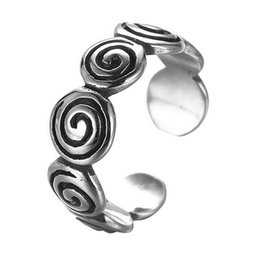 Wholesale Gothic Ring Vintage - 5pcs lot 925 Sterling Silver Fingerprint Vintage Ring Gothic Swirl Ring Adjustable Open Twisted Spiral Ring Jewelry Wedding Band