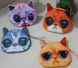 Wholesale Cute Kawaii Bags - Cute 3D Animal Printing Cat Coin Purse Kids Wallet Kawaii Coin Bag Pouch Children's Purses Holder Women Coin Wallet