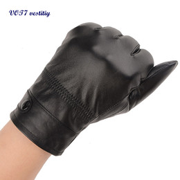 Wholesale Black Lambskin Gloves - Wholesale- Mature men Leather Gloves VOT7 vestitiy Fashion Men's Autumn Winter Warm Leather Gloves Lambskin Mittens Driving Black Dec 1