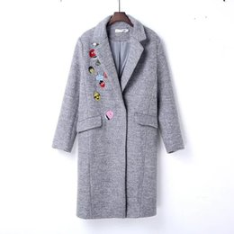 72e141d542 OLGITUM Winter Coat Women Small Cute Embroidery Long Wool Women Coat Jacket  Ladies Coats Jacket WC049
