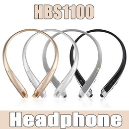 Wholesale Good Wireless Headsets - HBS 1100 Bluetooth Earphones Neckband Stereo Hi Fi Sound Headset Headphones Twins Ear Bud Good Quality
