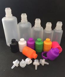 Wholesale 15ml Plastic Bottle Cap - Colorful Plastic Bottles 3ml 5ml 10ml 15ml 20ml 30ml 50ml 60ml 100ml 120ml E Liquid Dropper Bottles with Long Thin Tips Tamper Caps