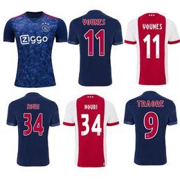 Wholesale Fc Uniforms - S-4XL New Ajax Home Soccer Jerseys 2018 Ajax FC Red Away Blue 2017 Camisa KLAASSEN FISCHEA DOLBERG 17 18 Football Shirts Customized uniform