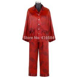 Wholesale Chinese Silk Pajama - Wholesale-Luxury Chinese Red Short Long Pajama Couple Satin Silk Nightwear, Men Silk Pajamas, Satin Pjs,