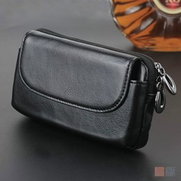Wholesale Iphone5 Leather Pouch - Universal 4.0-6.0 Belt Clip Pouch Genuine Leather Case for Iphone5 6 7 8 plus Phone Wallet for Samsung S8 S7 S6 S5 plus
