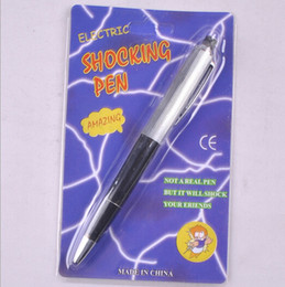 Wholesale Gag Shocker - Free Shipping 20pcs lot Electric Shock Ballpoint Working Pen Gag Funny Gift Prank Joke Shocker