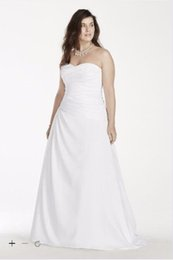 Wholesale Dropped Waist Sweetheart Neckline - 2016 Satin A-Line Weeding Dresses Strapless ruched satin bodice sweetheart neckline and dropped waist 9WG3743 Plus Size CBGX