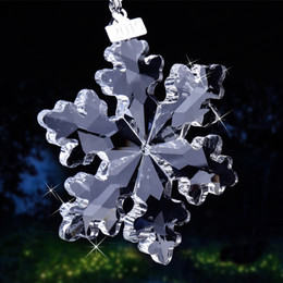 2019 albero ornamenti artigianali 3 Kind Bright Clear / Champagne Glass Crystal Snowflake Ornaments Hanging on Glass Craft Ornamenti per l'albero di Natale Lady Favor albero ornamenti artigianali economici