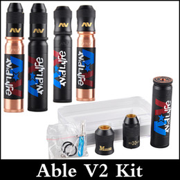 Wholesale Via Caps - Able V2 Vaporizer Kit with Clone Able Mod AV Torpedo Cap Combo RDA Limited Edition with Modfather and Hubble RDA via DHL