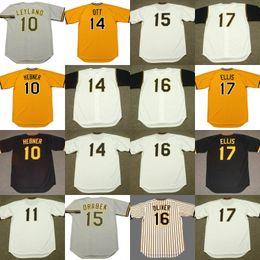 Wholesale Blue Ed - 10 JIM LEYLAND RICHIE HEBNER 11 JOSE PAGAN 14 GENE ALLEY ED OTT DOUG DRABEK 17 DOCK ELLIS Throwback Baseball Jersey
