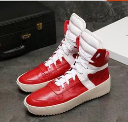Wholesale Red Platform Wedge Boots - Fog boots 2018 season 5 fear of god Boots With Box military boots platform Men women fashion leather shoes size 36-45