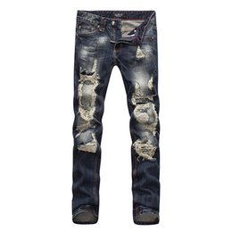 Wholesale Skull Jeans Men - 2016 Famous P ripped hole fear of god p mens brand jeans pants men biker denim brand skull jeans black for man designer rock revival jeans