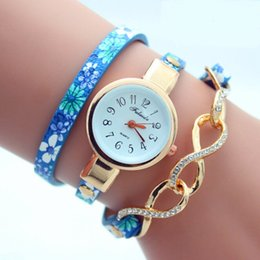 Wholesale Diamond Bow Bracelets - Bow-knot design watches fashion women printing leather bracelet watch ladies dress watches casual chain diamond quartz wrist watch wholesale