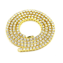 Wholesale Diamond Necklace Mens - 3 Colors Hip Hop 1 Row Simulated Diamond Hip-Hop Chain 30inch Necklace Mens Gold Tone Iced Out Punk Necklace