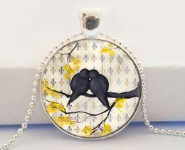 Wholesale Lovebird Necklace Wholesale - Bird Necklace, Love Birds, Lovebird Jewelry, Romantic, Fleur De Lis, Nature Art Glass Dome Pendant Necklace