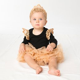 Wholesale children s winter skirts - 2017 spring autumn new arrivals children Halloween outfits baby girl fly sleeve romper with tutu skirt crown headband 3pcs sets