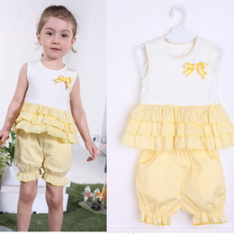 Wholesale Shirts Butterfly Sleeves - New arrival girls clothes set baby clothes suit 2 pcs set T Shirt+ short Pants nice qualotton toddler's wear