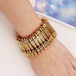 Wholesale Heavy Cuffs - gold silver 2 colors hot sale wholesale fashion vintage wide metal alloy heavy metallic woman bangle cuff bracelet