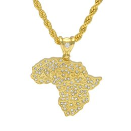 Wholesale Crystal Map - Hip Hop Silver Gold Color African Map Pendant Necklace Men Women Trendy Alloy Jewelry With Long 30inch Rope Chain