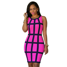 Wholesale Bodycon Club Dress Wholesale - Wholesale-Women Summer Bodycon Dress 2016 Sleeveless Patchwork Plus Size Pink Yellow Mini Robe Sexy Club Dress Vestidos Party Dresses