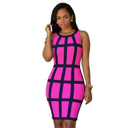 Wholesale Column Wholesale - Wholesale-Women Summer Bodycon Dress 2016 Sleeveless Patchwork Plus Size Pink Yellow Mini Robe Sexy Club Dress Vestidos Party Dresses