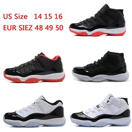 Wholesale Shoes Big Size Man - 2018 cheap 11 XI Men Basketball shoes Bred black white Concord Low and High space jam Sneaker Online Big Size 14-16