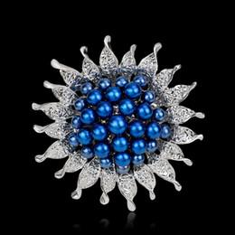 sun flower brooch Australia - Vintage Silver Pearls Crystal Sun Flower Brooches Pins Wedding Dress Brooch Scarves Buckle Bridal Handheld Bouquet Pins Fashion Jewelry Gift