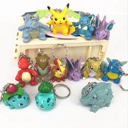 Wholesale Anime Action Figures - Poke elf Pikachu perspective key ring pendant 13 paragraph Action Figures Poke Ball Anime Keychain Keyring Pendant Halloween Christmas Gifts