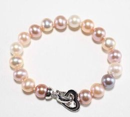 Wholesale South Sea Pearls Rings - Stunning 9-10mm south sea gold pink white multicolor pearl bracelet 7.5-8inch 925 silver clasp