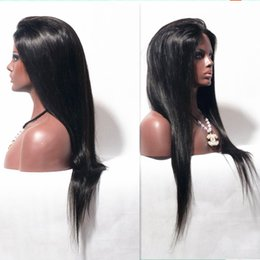 Wholesale Cheap Remy Front Lace - Indian hair silky straight lace front wigs bleached knots natural color unprocessed human remy hair cheap price free shipping