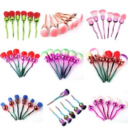 Wholesale Yellow Plastic Flowers - Rose Flower Makeup Powder Foundation Blush Brush Set 6 Pcs Soft Rose Flower Makeup Brushes Set 2805114