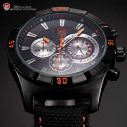 Wholesale Dashboard Watch - Men's Shark Sport Watch Nylon Band Full Black 3D Dashboard Chronograph 24 Hours Waterproof Running Quartz Wrist Watches   SH286