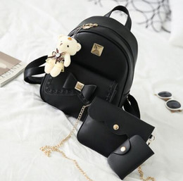 Wholesale Canvas Bags For Packing - Kavard Fashion Backpack Women Pu Leather Back Pack Famous Brand School Bags for Girls sac a dos femme with Purse and Bear 2017