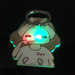 Wholesale Led Acrylic Stands - LED Phone Holders 360 Degree Cartoon Bracket Ring Crystal Acrylic Lighting Induction Stand Holder for Iphone 8 7 Samsung s8 plus Tablets Hot