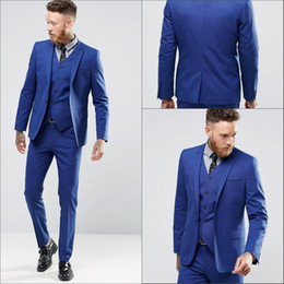 Wholesale Handsome Black Men Suits - Blue Color Gentle Man Tuxedo Suits Real Image Handsome Groom Suits One Button Slim Fit Wedding Suit For Men (Jacket+Pants+Vest)