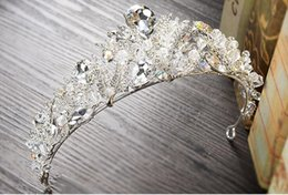 Wholesale Baroque Gown - Luxury Crystals Wedding Crowns Baroque Rhinestones Headpieces Tiaras Unique Princess Hairpin Women Jewel for Bridal Party Gowns