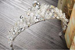 Wholesale Wedding Gown Tiara - Luxury Crystals Wedding Crowns Baroque Rhinestones Headpieces Tiaras Unique Princess Hairpin Women Jewel for Bridal Party Gowns