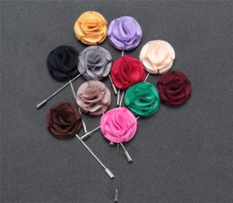Wholesale Silk Suits China - Korean men's suits inserted long classic flower brooch brooch all-match men Imitation silk corsage
