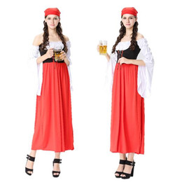 Wholesale Fairy Ride - Club Germany beer festival costumes Halloween red long Germany beer festival clothes fairy tale little red riding hood maid maid costume