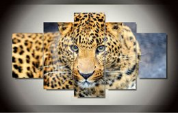 Wholesale Leopard Wall Art - Unframed 5 Pcs Canvas painting of Leopard Home Decorative Art Picture Paint on Canvas Prints wall free shipping 2016 hot sale